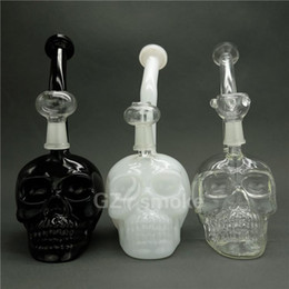 black skull bong Coupons - Authentic Skull Bong With Bowl and Dome Black White Dab Oil Rigs Glass Water Bongs for Smoking Ash Catcher Pipes Hookah Beaker Bongs