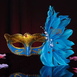 Wholesale Adult Wedding Dress Costumes - Blue Sexy Lady Masks Masquerade Feather Halloween Venetian Party Fancy Dress Party Costume Prop Cosplay Mask 160929