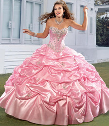 Wholesale Taffeta Sweetheart Sleeveless Ball Gown - 2016 New Princess Quinceanera Dresses Sweetheart Crystal Beads Ruffles Taffeta Pink Sweet Sixteen 16 Girl Prom Party Special Occasion Gowns