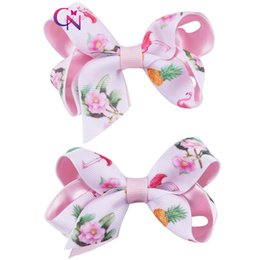 Wholesale flower hair clips for girls - 3.5 Inch Small Bows Fabric With Ribbon Covered Clip For Toddler Kid Infant Girls Flowers Hair Bows