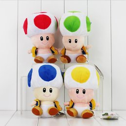 Wholesale Toad Mario Plush Toy - New Super Mario Brothers Mushroom Plush TOAD Plush toy 16cm Yellow,Green,Blue,Red Toad dolls plush toys
