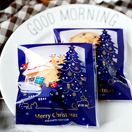 Wholesale Self Adhesive Bread Bags - Wholesale- Blue Christmas self-adhesive seal Cookie Bags,Cellophane Bags,Bread Sticks Bags