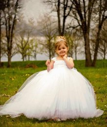 Wholesale Cheap Tutus For Kids - White Ball Gown Cheap Flower Girl's Dresses For wedding Little Kids Floor Length Cute Little girls Tutu pageant Gowns for Communion Dress