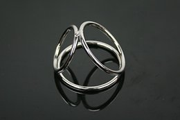 Wholesale men sex spray - Metal stainless steel safe durable penis ring sex toys for men,Two size to choose cockring Three ring delay male spray cock ring