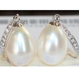 Wholesale White Baroque Pearl Earrings - Charming a pair 10-11mm south sea white baroque pearl earring 925 silver
