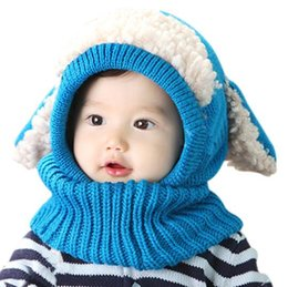 Wholesale Knitted Scarves For Infants - Winter Baby Hat and Scarf Joint With Dog Style Crochet Knitted Caps for Infant Boys Girls Children New Fashion Kids Neck Warmer fashion