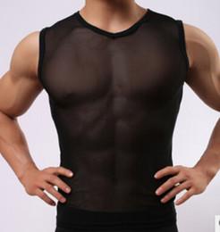 Wholesale Tight Mesh Men Underwear - Wholesale-Free shipping!Men's lingerie underwear solid tank top White gauze man transparent sleeveless v-neck tight vest mesh tank top