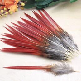 Material raro on-line-50 pçs / lote Bonito penas de faisão vermelho espada penas raras em massa pena voar pesca amarrando acessórios material 10-14 CM