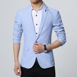Wholesale Korean Blazers - Linen Blazers Men Linen Blazer Mens Linen Jacket Luxury Brand Veste Homme Marque Luxe Korean Fashion Wedding Dress Slim Fit
