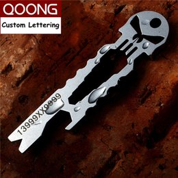 Wholesale Screwdriver Rings - QOONG Punisher EDC Multi Function Tool Keychain with Wrench Crowbar Screwdriver Bottle Opener Skeleton Key Chain Ring Holder H03
