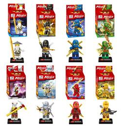 Wholesale Ninja Plastic Building Blocks Toys - Free Shipping 8pcs lot Ninja Building Blocks Figure Toys for children Minifigures Action Bricks Christmas Gift
