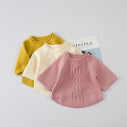 Wholesale Boys Wool Sweater - Everweekend Baby Boys Girls Crochet Knitted Sweater Tops Candy Color Autumn Winter Cute Children Fashion Blouse