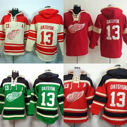 Wholesale Detroit Red Wing Sweatshirt - Hot Sale Cheap Mens Detroit Red Wings 13 Pavel Datsyuk Beige Red Geen Best Quality Sweatshirts Ice Hockey Hoodies Accept Mix Order