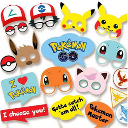 Wholesale Pokemon Poke Pack - 19pcs pack Pikachu Poke Party Supplies Photo Booth Props Suitable for Birthday Theme Party Great Party Decoration CCA7409 200set