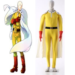 Wholesale Xxl Punch - Popular Anime Original ONE PUNCH-MAN Wanpanman Saitama Cosplay Costume with Gloves Jumpsuit Cape Fighting Uniform Customized