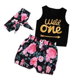 Wholesale toddler vest outfit - Toddler Infant Baby Girls Clothing Set 3PCS Vest+Floral Shorts+Headband 3 pcs Floral Outfits Clothes Set for Baby Girls
