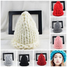 Wholesale rain gardens design - Coarse Wool Knit Beanies Pure Colors Curling Design Skull Cap No Eaves For Women Hat For Outdoor Ski 12nsa B