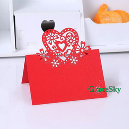 Wholesale Shaped Invitations - 50pcs lot Free Shipping Laser Cut Beautiful Love Heart Shape Paper Place Seat Name Wedding Invitation Card for Party Table Decorations