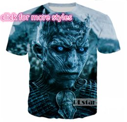 Wholesale Game Thrones 4xl - New Fashion Couples Men Women Game of Thrones 3D Print No Cap Casual T-Shirts Tee Tops Wholesale S-5XL T30