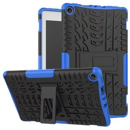 Wholesale Blue Kindle Fire Skin - 2in1 Hybrid Soft TPU Silicone Hard PC Robot Case Cover with Stand Holder for Kindle Fire HD8 2017 Kickstand Shockproof case