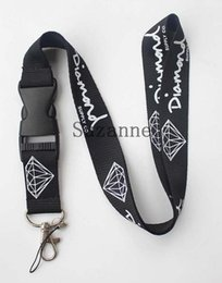 Wholesale Lanyard Keys Id Neck - FREE SHIPPING black Enthusiasts Men Diamond key lanyard sport logo skateboarding id card neck strap
