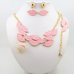 Wholesale Gold Jewelrys - 2016 New Lip shape jewelry set including necklaces earrings rings bracelets and four sets of fine jewelrys