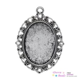 "Wholesale Oval Cabochon Settings - Charm Pendants Oval Antique Silver Cabochon Setting(Fits 25mm x 18mm) 3.9cm x 2.9cm(1 4 8"" x1 1 8""),30PCs (B32876)8seasons"
