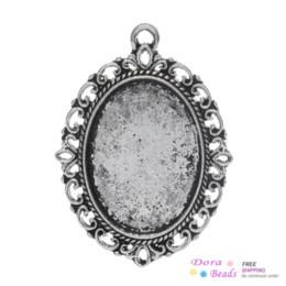 "Wholesale Oval Cabochon Settings Silver - Charm Pendants Oval Antique Silver Cabochon Setting(Fits 25mm x 18mm) 3.9cm x 2.9cm(1 4 8"" x1 1 8""),30PCs (B32876)8seasons"