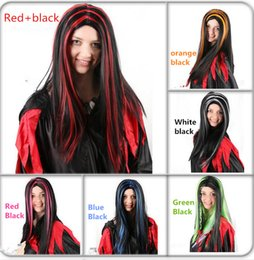 Wholesale Wigs For Carnival - 2017 Carnival Party Cosplay Witch Cosplay Wigs for Halloween Custome COS Party Supplies 5 Colors Lady Women Party Wigs Customes