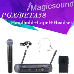 Auriculares uhf online-Micrófono inalámbrico profesional UHF PGX24 / BETA58 58A + Lapel + Headset + Estuche para el sistema de micrófono Stage PGX14 / PGX1 WL93 / WH30