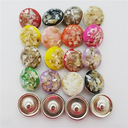 Wholesale Circle Plastic Shell - 40pcs lot Mix Colors Fashion Plastic Resin Shell Noosa chunks 18mm snap button charms for diy bracelet jewelry findings