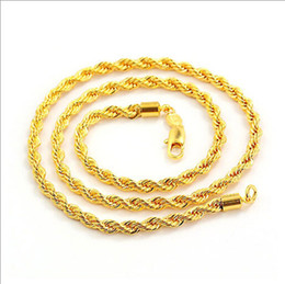 Wholesale Twisted Knot Necklace - Fast Free shipping simple fashion, men's 18K gold necklace explosion models 23.6 twisted rope knotted link chain jewelry