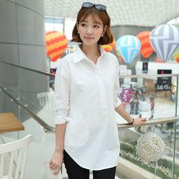 Wholesale Womens Office Shirts - Wholesale-Summer Boyfriend Long Loose White Shirt Female Leisure Ol Shirt Office Sexy Womens Fashion 2016 Plus Size Xxl Blouse Korean Top
