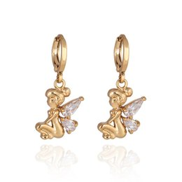 Wholesale Fairy Earrings Studs - Lovely Women Earring Jewelry Real 18K Yellow Gold Plated AAA Clear Cubic Angle Fairy Earrings for Girls Women Special Gift ER-992