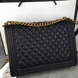 Wholesale Caviar Flap - Fab Price Large 30CM Classic Style LeBoy Genuine Black Caviar Leather Plaid Flaps Shoulder Chain Bags Vintage Gold   Silver Hardware
