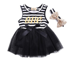 Wholesale Toddler Net Dress - 2016 New Baby Girl Stripe Dress Cute Girls Lace Net Yarn Stitching Dresses With Hair Band Infant Babies Summer Dress Toddler Vest Dress