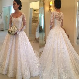 Wholesale Long Puffy Wedding Dresses - Squared Puffy Buttons Back Lace Bridal Wedding Gowns 2017 Elegant Court Train Illusion Long Sleeves Wedding Dresses Custom Made