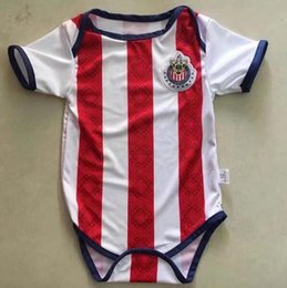 Wholesale Soccer Jerseys Wholesale Cotton - 2017 2018 New Chivas Baby soccer Jersey Cotton Short Sleeved Jumpsuit Mexico Baby Triangle Climb Clothes Loveclily 17 18 baby's fans shirt