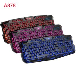 Wholesale Purple Pc Keyboard - M200 3 Colors Blue Purple Red Backlit Professional Wired Gaming Keyboard With Backlight Adjustable for Computer PC Game Brightness Keyboards