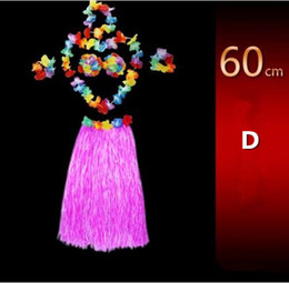 Wholesale Floral Dress Accessories - New Children day Halloween costume party grass skirt Hawaiian grass skirt wedding accessories floral dress bra 60CM