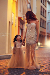 Wholesale Matching Prom Dresses - 2017 Bling Luxury Beading Pearls Tulle Mother And Daughter Match Prom Dresses Sweetheart Champagne Long Pageant Evening Gowns Vestido