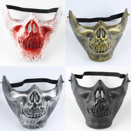 Wholesale Scary Skeleton - Fun Paintball Airsoft Masks Scary Skeleton Skull Mask Protective CS Games Carnival Halloween Terror Face Party Masks CCA7130 120pcs