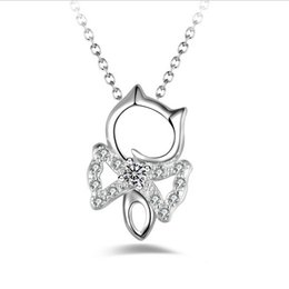 Wholesale Cheap Cat Pendant - 925 Sterling Silver Cat Pendant Women's Fashion Style Necklace Charms Crystal Necklaces pendants Cheap price Free Shipping