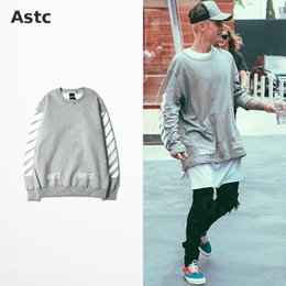 Wholesale Men Suits Black Color - Off White Hoodie Mens Sports Suits Justin Bieber Clothing Hiphop Sweatshirt Striped Cotton Fleece Grey Sweatshirt Gd Bts 3XL