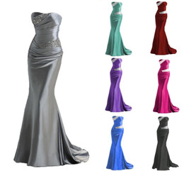 Wholesale Champagne Satin - 2016 IN STOCK Mermaid Bridesmaid Dresses Cheap Burgundy Silver Gray Purple Blue Maid of Honor Dress Evening Gowns Prom Dress Lace Up Beading