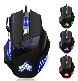 Wholesale Professional Gaming Mice - High Quality Professional Wired Gaming Mouse 7 Button 5500 DPI LED Optical USB Wired Computer Mouse Mice Cable Mouse