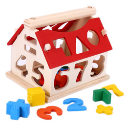 Wholesale Toy Wooden House Block - Wooden Number House Children Building Educational Blocks Children Kids Early Learning Math Educational Toys Gift