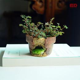 Eco Friendly Ornement De Jardin Grenouille Flowerpot Bonsai Exterieur Planteur Decoration Ronde Red Clay Pots De Fleurs