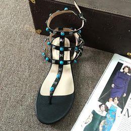 Wholesale Top Fashion Sandals - top quality~ u592 34 40 41 genuine leather gem t strap flat sandals black beige white gladiator v luxury designer casual rivets