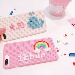 Wholesale Cute Name Cartoon - DIY Make Yourself! Any cartoon! For iphone 6 6s 7 8 plus X Fashion Cute Casual Customized personal Name blocks phone case cover